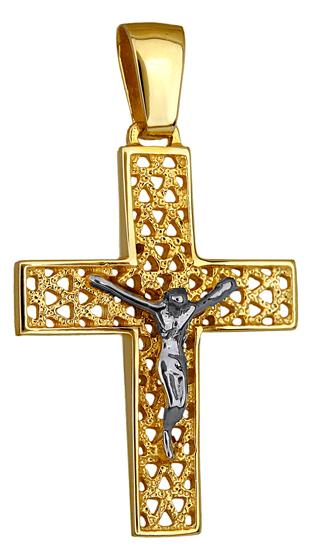Σταυροί Βάπτισης - Αρραβώνα ΔΙΧΡΩΜΟΣ ΣΤΑΥΡΟΣ 14Κ 014226 Ανδρικό Χρυσός 14 Καράτια