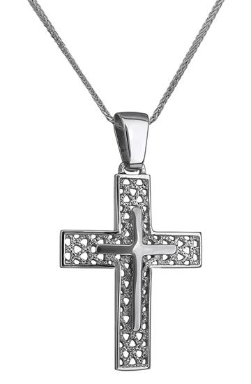 Βαπτιστικοί Σταυροί με Αλυσίδα ΛΕΥΚΟΧΡΥΣΟΣ ΣΤΑΥΡΟΣ 14Κ ΜΕ ΑΛΥΣΙΔΑ 014228C Ανδρικό Χρυσός 14 Καράτια