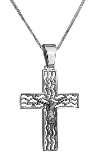 Βαπτιστικοί Σταυροί με Αλυσίδα ΛΕΥΚΟΧΡΥΣΟΣ ΣΤΑΥΡΟΣ ΜΕ ΑΛΥΣΙΔΑ 14Κ 014231C Ανδρικό Χρυσός 14 Καράτια