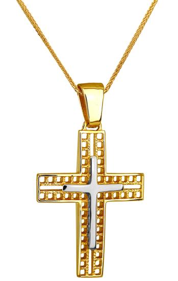 Βαπτιστικοί Σταυροί με Αλυσίδα ΔΙΧΡΩΜΟΣ ΣΤΑΥΡΟΣ 14Κ ΜΕ ΚΑΔΕΝΑ 014239C Ανδρικό Χρυσός 14 Καράτια