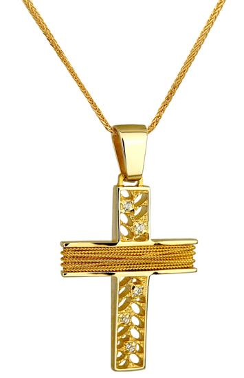Βαπτιστικοί Σταυροί με Αλυσίδα ΛΕΥΚΟΧΡΥΣΟΣ ΣΤΑΥΡΟΣ 14Κ ΜΕ ΑΛΥΣΙΔΑ 014253C Γυναικείο Χρυσός 14 Καράτια