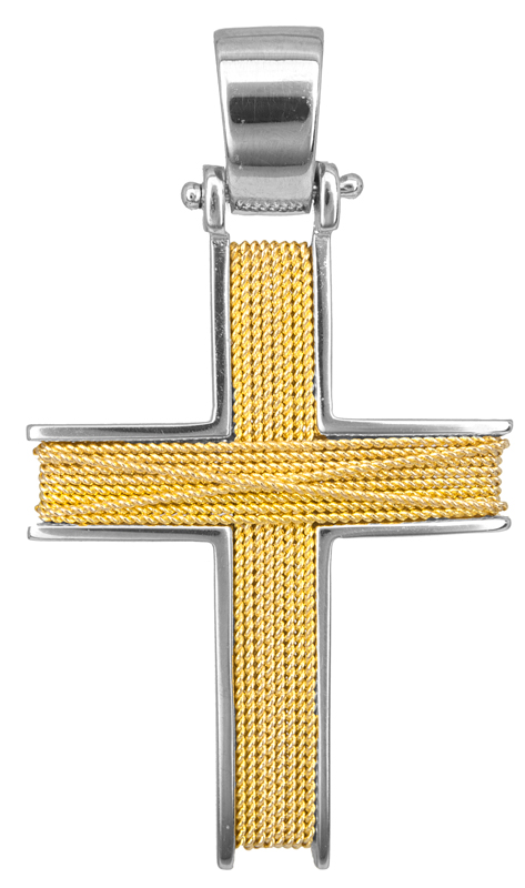 Σταυροί Βάπτισης - Αρραβώνα Ανδρικός σταυρός με σύρμα Κ14 014262 014262 Ανδρικό Χρυσός 14 Καράτια