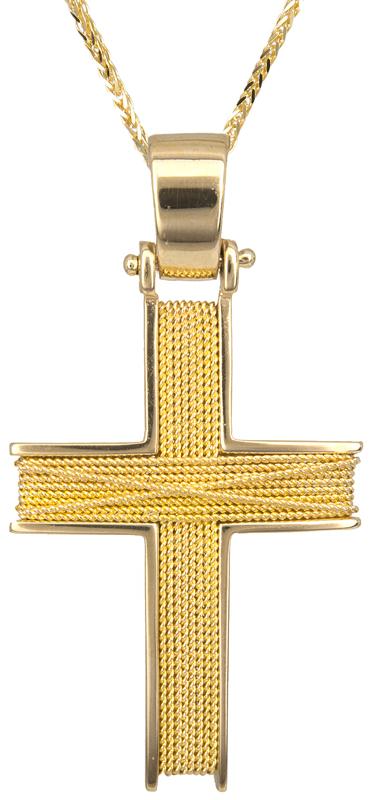 Βαπτιστικοί Σταυροί με Αλυσίδα Χρυσός βαπτιστικός σταυρός Κ14 C014263 014263C Ανδρικό Χρυσός 14 Καράτια