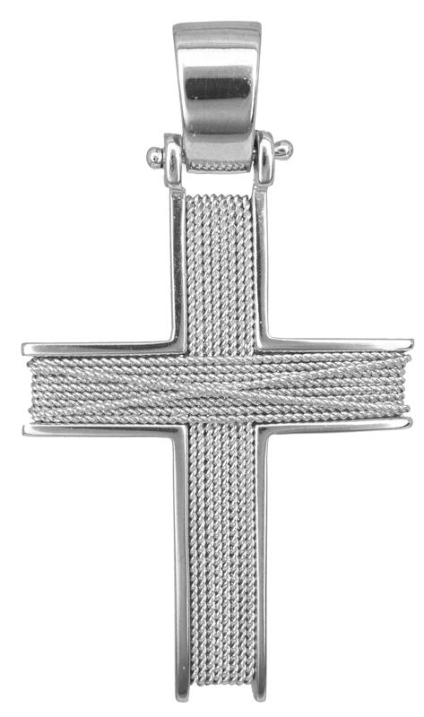 Σταυροί Βάπτισης - Αρραβώνα Λευκόχρυσος χειροποίητος σταυρός Κ14 014264 014264 Ανδρικό Χρυσός 14 Καράτια