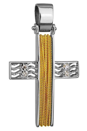 Σταυροί Βάπτισης - Αρραβώνα ΔΙΧΡΩΜΟΣ ΣΥΡΜΑΤΕΡΟΣ ΣΤΑΥΡΟΣ Κ14 014267 Γυναικείο Χρυσός 14 Καράτια