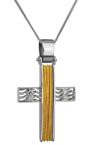 Βαπτιστικοί Σταυροί με Αλυσίδα ΔΙΧΡΩΜΟΣ ΣΤΑΥΡΟΣ 14Κ ΜΕ ΚΑΔΕΝΑ 014267C Γυναικείο Χρυσός 14 Καράτια