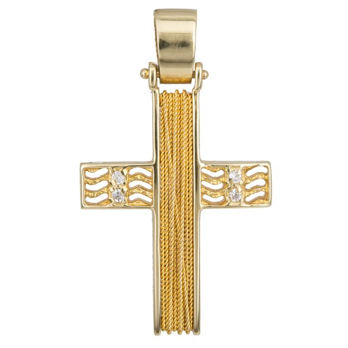 Σταυροί Βάπτισης - Αρραβώνα Χειροποίητος σταυρός Κ14 014268 014268 Γυναικείο Χρυσός 14 Καράτια