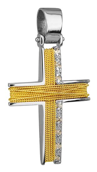 Σταυροί Βάπτισης - Αρραβώνα ΔΙΧΡΩΜΟΣ ΣΤΑΥΡΟΣ 14Κ 014276 Γυναικείο Χρυσός 14 Καράτια