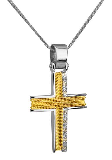 Βαπτιστικοί Σταυροί με Αλυσίδα ΔΙΧΡΩΜΟΣ ΣΤΑΥΡΟΣ 14Κ ΜΕ ΚΑΔΕΝΑ 014276C Γυναικείο Χρυσός 14 Καράτια