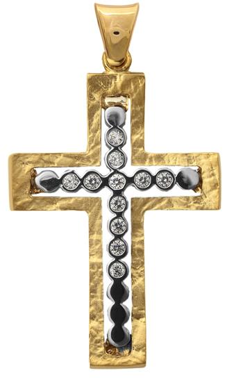 Σταυροί Βάπτισης - Αρραβώνα ΔΙΧΡΩΜΟΣ ΣΤΑΥΡΟΣ 9Κ 014285 Γυναικείο Χρυσός 9 Καράτια