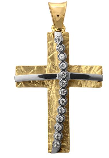Σταυροί Βάπτισης - Αρραβώνα ΔΙΧΡΩΜΟΣ ΣΤΑΥΡΟΣ 9Κ 014287 Γυναικείο Χρυσός 9 Καράτια