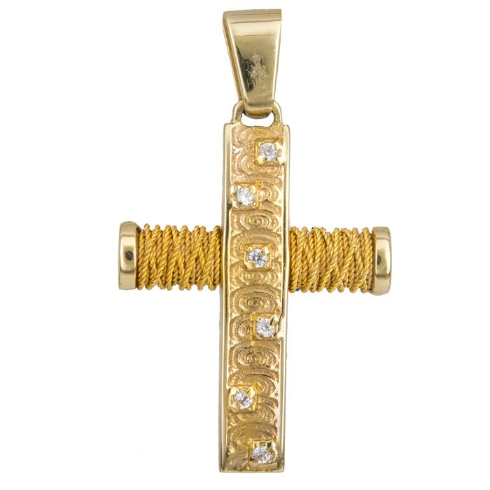 Σταυροί Βάπτισης - Αρραβώνα Γυναικείος σταυρός με ζιργκόν Κ14 014352 014352 Γυναικείο Χρυσός 14 Καράτια