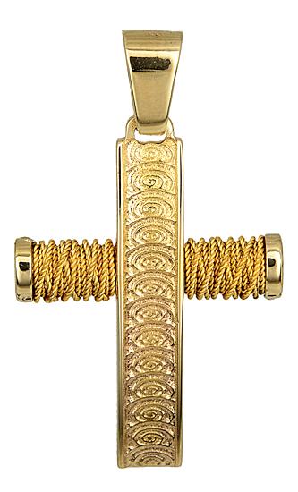 Σταυροί Βάπτισης - Αρραβώνα Χρυσός Συρματερός Σταυρός 14Κ για Βάπτιση 014353 Ανδρικό Χρυσός 14 Καράτια