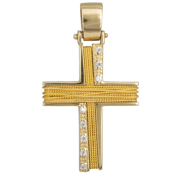 Σταυροί Βάπτισης - Αρραβώνα Γυναικείος Συρματερός Σταυρός από Χρυσό 14Κ με Πέτρες 014354 014354 Γυναικείο Χρυσός 14 Καράτια