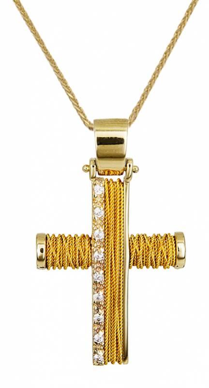 Βαπτιστικοί Σταυροί με Αλυσίδα ΧΕΙΡΟΠΟΙΗΤΟΣ ΧΡΥΣΟΣ ΣΤΑΥΡΟΣ ΜΕ ΑΛΥΣΙΔΑ 14Κ 014355C Γυναικείο Χρυσός 14 Καράτια