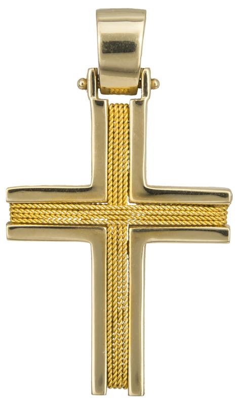 Σταυροί Βάπτισης - Αρραβώνα Χρυσός ανδρικός σταυρός με σύρμα 14Κ 014356 Ανδρικό Χρυσός 14 Καράτια
