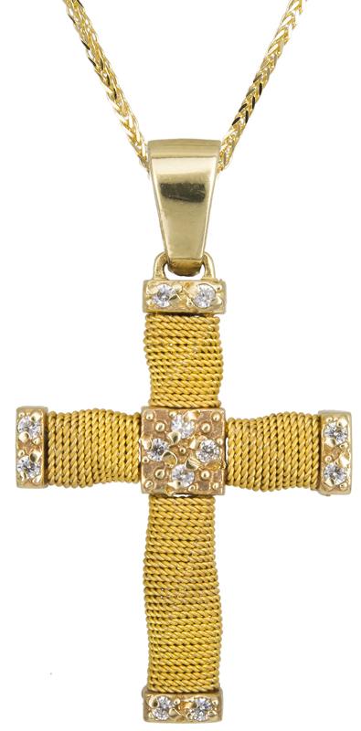 Βαπτιστικοί Σταυροί με Αλυσίδα ΧΕΙΡΟΠΟΙΗΤΟΣ ΧΡΥΣΟΣ ΣΤΑΥΡΟΣ ΜΕ ΑΛΥΣΙΔΑ 14Κ 014357C Γυναικείο Χρυσός 14 Καράτια