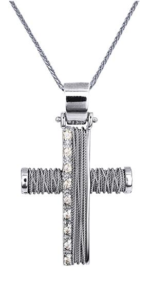Βαπτιστικοί Σταυροί με Αλυσίδα Λευκός Χειροποίητος Σταυρός με Αλυσίδα 14Κ 014361C Γυναικείο Χρυσός 14 Καράτια