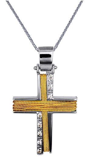 Βαπτιστικοί Σταυροί με Αλυσίδα ΔΙΧΡΩΜΟΣ ΒΑΠΤΙΣΤΙΚΟΣ ΣΤΑΥΡΟΣ 14Κ ΜΕ ΑΛΥΣΙΔΑ 014371C Γυναικείο Χρυσός 14 Καράτια