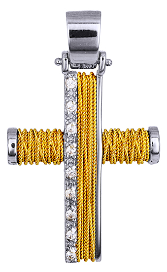 Σταυροί Βάπτισης - Αρραβώνα Δίχρωμος Συρματερός Σταυρός 14Κ 014372 Γυναικείο Χρυσός 14 Καράτια