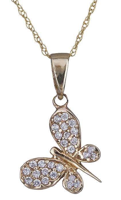 Κολιέ με πετράτη πεταλούδα Κ14 014386 014386 Χρυσός 14 Καράτια