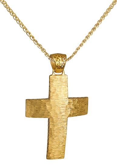 Βαπτιστικοί Σταυροί με Αλυσίδα Χρυσός Σταυρός 14Κ με Αλυσίδα 014712C Ανδρικό Χρυσός 14 Καράτια