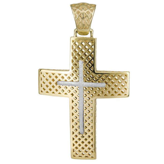 Σταυροί Βάπτισης - Αρραβώνα Βαπτιστικός σταυρός Κ14 014718 014718 Ανδρικό Χρυσός 14 Καράτια
