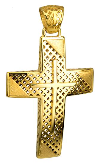 Σταυροί Βάπτισης - Αρραβώνα Χρυσός Σταυρός 14Κ με Ματ Λεπτομέρειες 014722 Ανδρικό Χρυσός 14 Καράτια