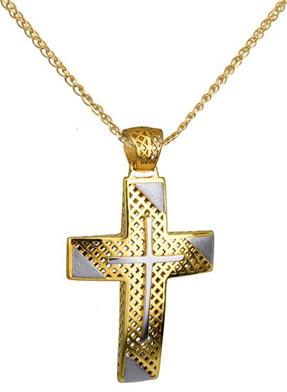 Βαπτιστικοί Σταυροί με Αλυσίδα Δίχρωμος Σταυρός 14K με Αλυσίδα 014723C Ανδρικό Χρυσός 14 Καράτια