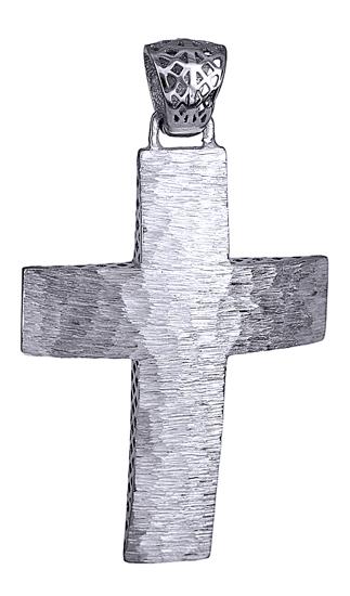 Σταυροί Βάπτισης - Αρραβώνα Ανάγλυφος Λευκόχρυσος Σταυρός 14Κ Αγόρι 014727 014727 Ανδρικό Χρυσός 14 Καράτια