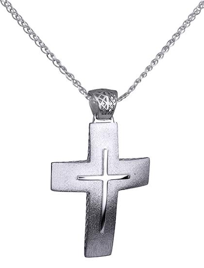 Βαπτιστικοί Σταυροί με Αλυσίδα ΛΕΥΚΟΧΡΥΣΟΣ ΣΤΑΥΡΟΣ Κ14 ΜΕ ΚΑΔΕΝΑ 014731C Ανδρικό Χρυσός 14 Καράτια
