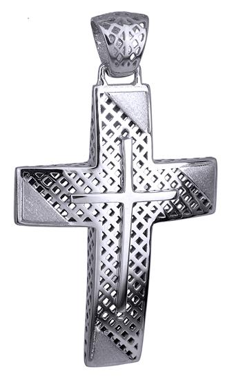 Σταυροί Βάπτισης - Αρραβώνα Λευκόχρυσος Σταυρός 14Κ για Αγόρι 014733 014733 Ανδρικό Χρυσός 14 Καράτια