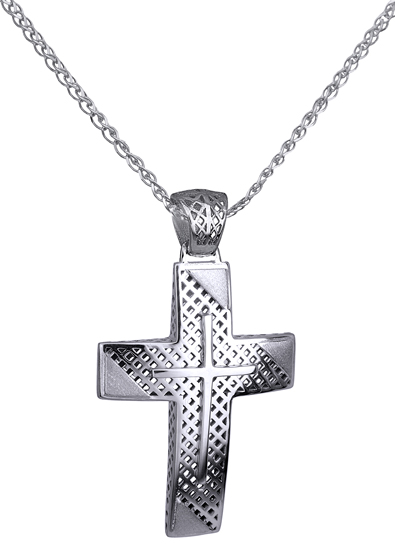 Βαπτιστικοί Σταυροί με Αλυσίδα Λευκόχρυσος Σταυρός 14Κ με Αλυσίδα 014733C Ανδρικό Χρυσός 14 Καράτια