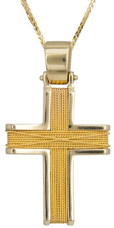 Βαπτιστικοί Σταυροί με Αλυσίδα Χειροποίητος Χρυσός Αντρικός Σταυρός με Αλυσίδα 014758C Ανδρικό Χρυσός 9 Καράτια