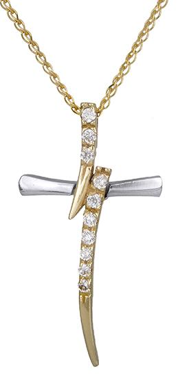 Βαπτιστικοί Σταυροί με Αλυσίδα Γυναικείος σταυρός με καδένα 9Κ C014770 014770C Γυναικείο Χρυσός 9 Καράτια