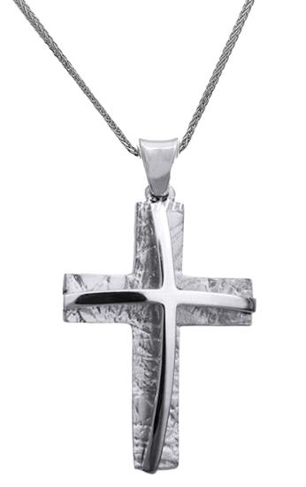 Βαπτιστικοί Σταυροί με Αλυσίδα ΛΕΥΚΟΧΡΥΣΟΣ ΣΤΑΥΡΟΣ 14Κ ΜΕ ΑΛΥΣΙΔΑ ΑΝΤΡΙΚΟΣ 014847C Ανδρικό Χρυσός 14 Καράτια