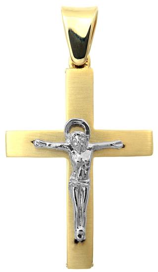 Σταυροί Βάπτισης - Αρραβώνα Δίχρωμος σταυρός με τον Εσταυρωμένο 9Κ 014857 014857 Ανδρικό Χρυσός 9 Καράτια