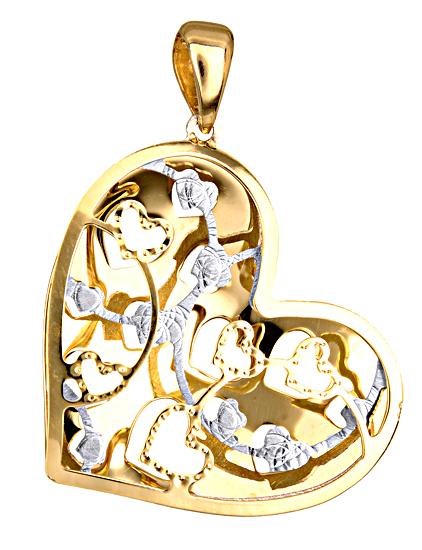 ΔΙΧΡΩΜΗ ΚΑΡΔΙΑ 14Κ 014879 Χρυσός 14 Καράτια