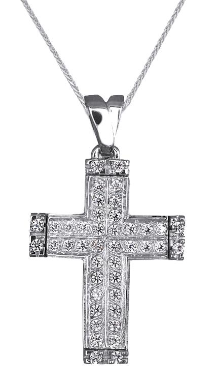 Βαπτιστικοί Σταυροί με Αλυσίδα Γυναικείος Λευκόχρυσος Σταυρός 9Κ με Αλυσίδα 014910C Γυναικείο Χρυσός 9 Καράτια