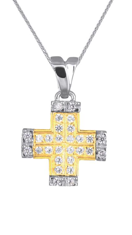 Βαπτιστικοί Σταυροί με Αλυσίδα ΔΙΧΡΩΜΟΣ ΠΕΤΡΑΤΟΣ ΣΤΑΥΡΟΣ 9Κ ΜΕ ΑΛΥΣΙΔΑ 014911C Γυναικείο Χρυσός 9 Καράτια