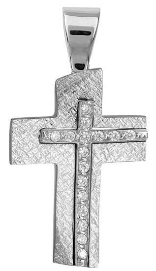 Σταυροί Βάπτισης - Αρραβώνα Γυναικείος σταυρός λευκόχρυσος Κ9 014969 014969 Γυναικείο Χρυσός 9 Καράτια