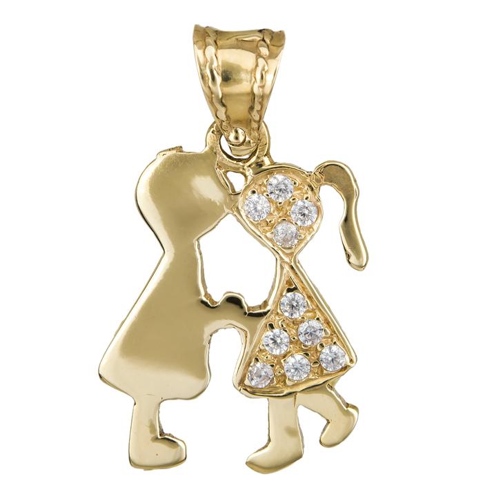 Χρυσό κρεμαστό κορίτσι με αγόρι Κ14 014999 014999 Χρυσός 14 Καράτια