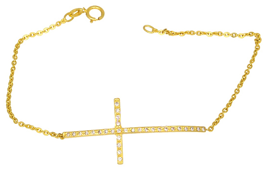 Χρυσό Βραχιόλι Κ9 με Ζιργκόν 015050 015050 Χρυσός 9 Καράτια χρυσά κοσμήματα βραχιόλια