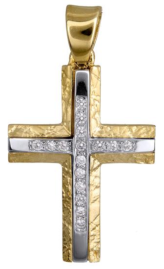 Σταυροί Βάπτισης - Αρραβώνα Δίχρωμος Πετράτος Σταυρός 14Κ 015084 Γυναικείο Χρυσός 14 Καράτια