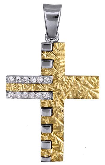 Σταυροί Βάπτισης - Αρραβώνα ΔΙΧΡΩΜΟΣ ΠΕΤΡΑΤΟΣ ΣΤΑΥΡΟΣ 14Κ 015086 Γυναικείο Χρυσός 14 Καράτια