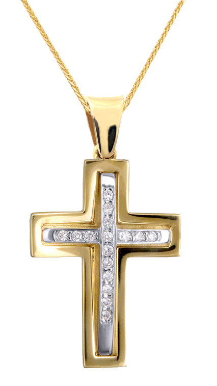 Βαπτιστικοί Σταυροί με Αλυσίδα ΓΥΝΑΙΚΕΙΟΣ ΔΙΧΡΩΜΟΣ ΣΤΑΥΡΟΣ ΜΕ ΑΛΥΣΙΔΑ 015090C Γυναικείο Χρυσός 14 Καράτια