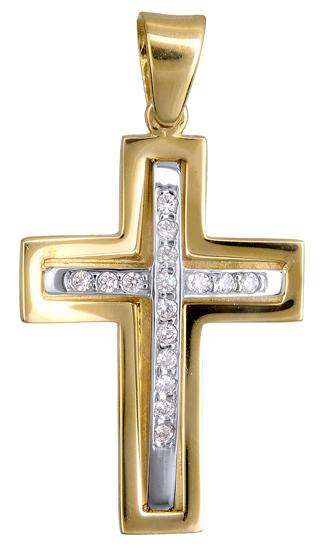 Σταυροί Βάπτισης - Αρραβώνα ΔΙΧΡΩΜΟΣ ΣΤΑΥΡΟΣ Κ9 ΓΙΑ ΚΟΡΙΤΣΙ 015091 Γυναικείο Χρυσός 9 Καράτια