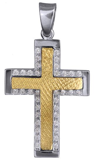 Σταυροί Βάπτισης - Αρραβώνα Δίχρωμος Πετράτος Σταυρός 14Κ 015094 Γυναικείο Χρυσός 14 Καράτια