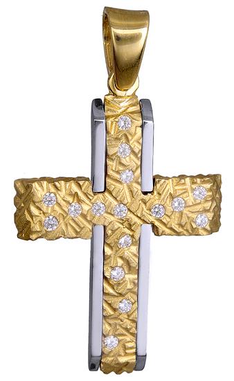 Σταυροί Βάπτισης - Αρραβώνα ΑΝΑΓΛΥΦΟΣ ΠΕΤΡΑΤΟΣ ΣΤΑΥΡΟΣ Κ14 015096 015096 Γυναικείο Χρυσός 14 Καράτια