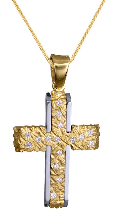 Βαπτιστικοί Σταυροί με Αλυσίδα ΔΙΧΡΩΜΟΣ ΓΥΝΑΙΚΕΙΟΣ ΣΤΑΥΡΟΣ ΜΕ ΑΛΥΣΙΔΑ Κ14 c015096 015096C Γυναικείο Χρυσός 14 Καράτια